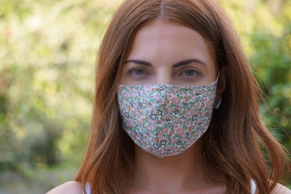 Floral Print Adjustable Cotton Face Mask (Grey & Pink)