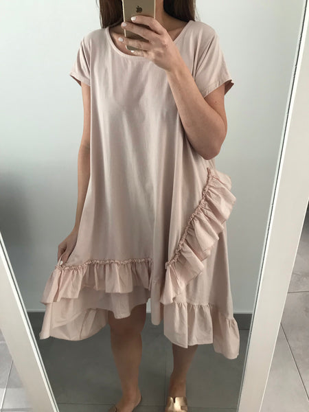 Ruffle Hem T-shirt Dress - Pink