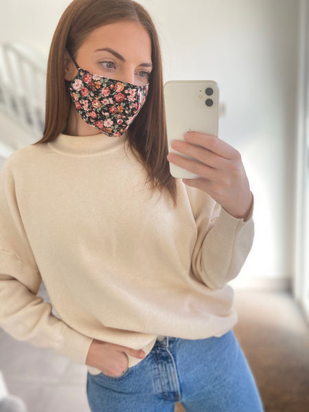 Rose Print Adjustable Cotton Face Mask