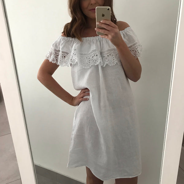 Embroidery Frill Linen Dress - White