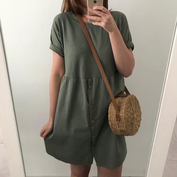 Button Front Dress - Khaki