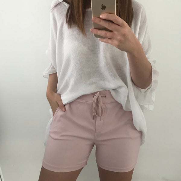 Tie Waist Pocket Shorts - Pink