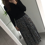 Large Leopard Print Midi Skirt - Grey