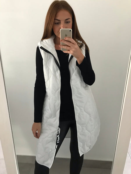 Longline Quilted Gilet - White