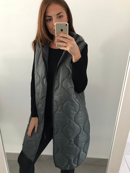 Longline Quilted Gilet - Grey