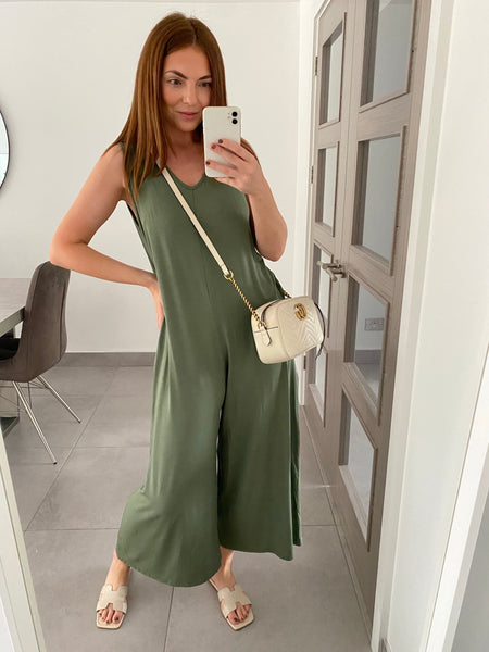 Wide Leg Jersey Jumpsuit with Pockets - Khaki