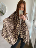 Key Print Scarf - Brown & Beige