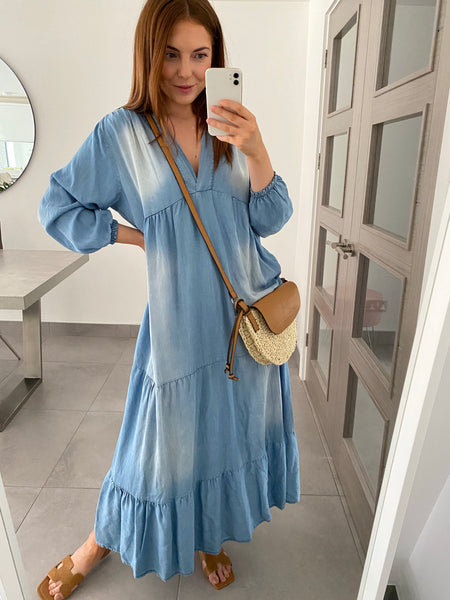 Tiered Denim Maxi Dress