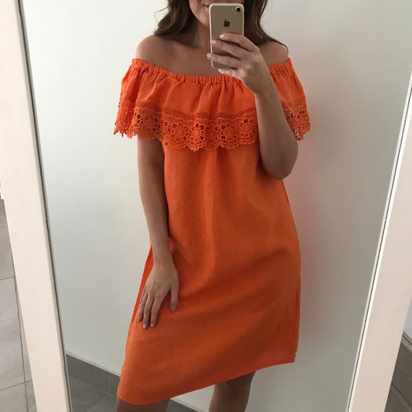Embroidery Frill Linen Dress - Orange