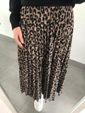 Large Leopard Print Midi Skirt - Tan