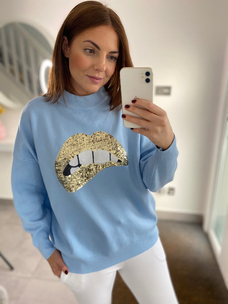 Gold Sequin Lips Jumper -  Blue