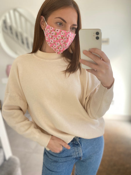 Daisy Print Adjustable Cotton Face Mask
