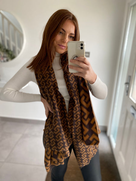 Key Print Scarf - Brown & Tan