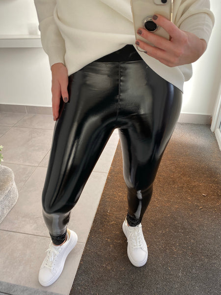 Vinyl Leggings - Black