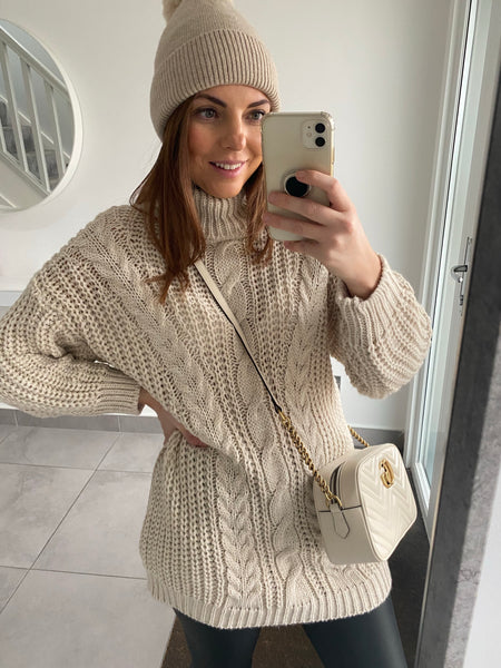Cable Knit Roll Neck Jumper - Beige