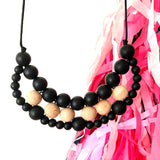 Silicone and wood teething necklace: woven bib necklace (black)