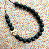 Silicone and wood teething necklace: Mama heart (black, white, blue or custom)