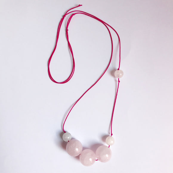 gemstone necklace, rose quartz necklace, rose quartz gemstone, moonstone, moonstone gemstone