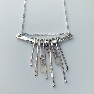 Raindrops silver and opal necklace