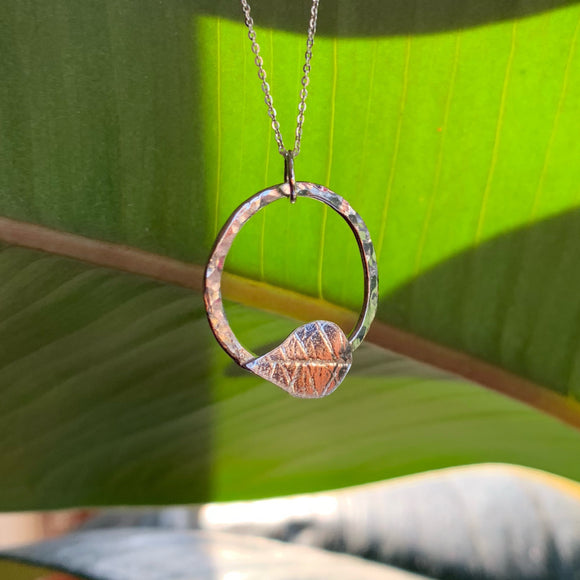 Leaf and hoop necklace