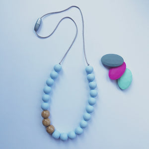 Silicone and acacia wood teething/nursing necklace: powder blue