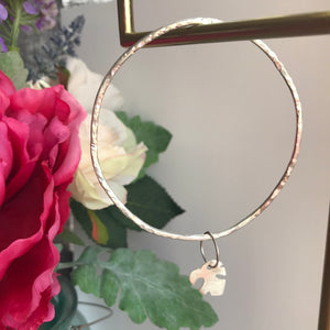 Silver hammered bangle - cheese plant