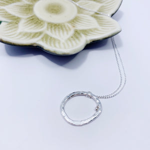 Hammered silver hoop necklace