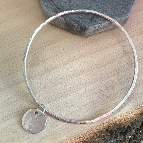 hammered silver bangle, handmade jewellery, silver, handmade jewellery