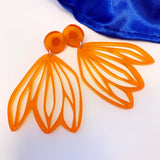 Floral acrylic earrings - transparent mandarin orange