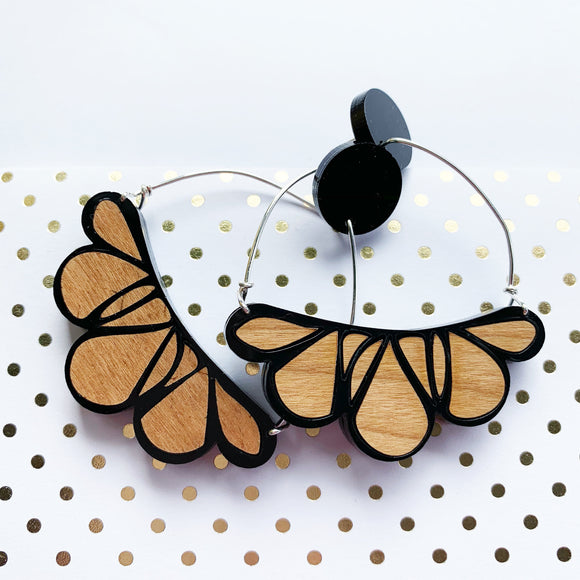 Abstract floral earrings: cherry wood and black acrylic