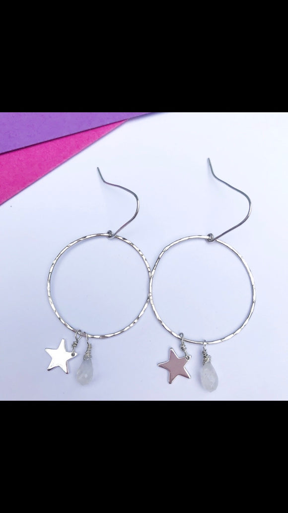 Moonstone and stars silver earrings