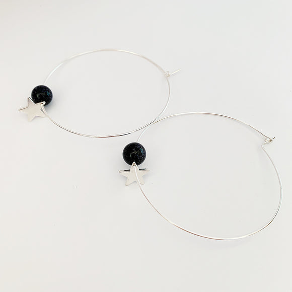 Silver star and goldstone hoops