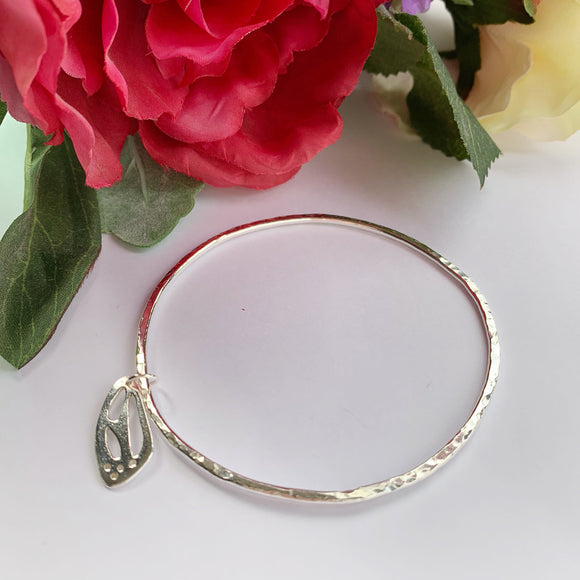 Silver hammered bangle - butterfly