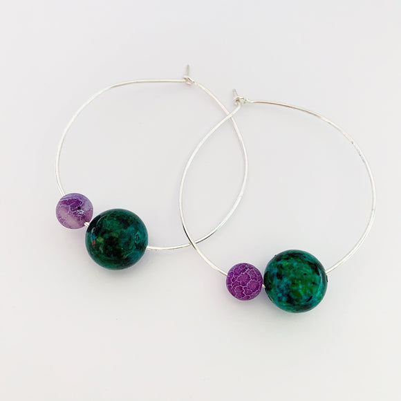 Silver, chrysocolla and agate hoops