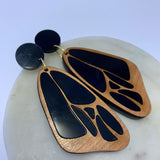 Butterfly acrylic earrings - black and cherry wood