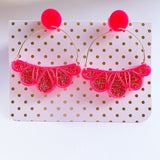 Abstract floral earrings: pink and holographic glitter acrylic