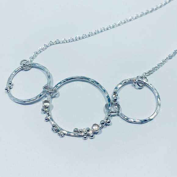 "Silver and moonstone necklace - ""crystallised"""