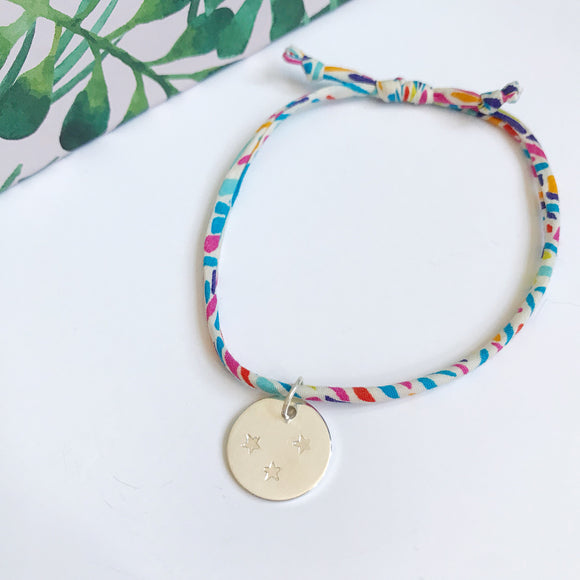 Liberty and silver bracelet: Karter A with silver disc charm