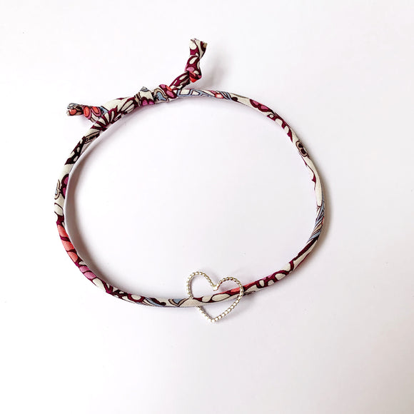 William Morris Liberty print bracelet with silver charm