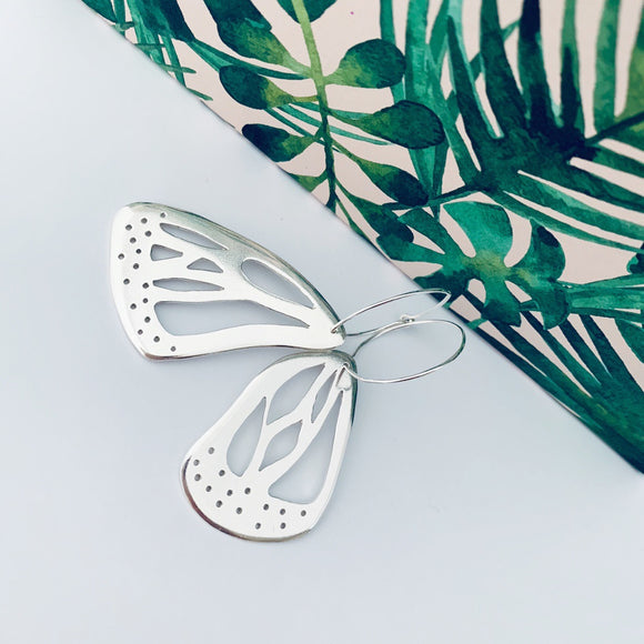Silver butterfly wing earrings
