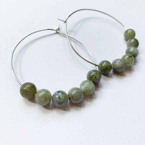 Silver and labradorite hoops