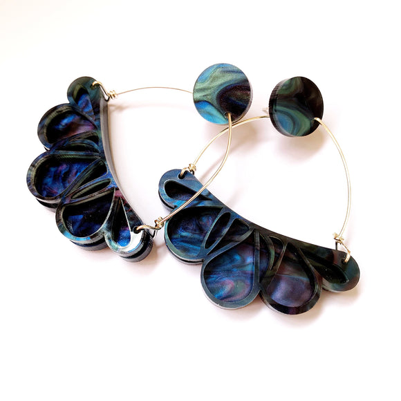 Abstract floral earrings: galaxy