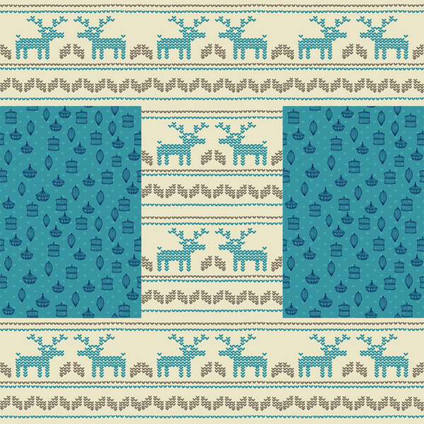 Blue Winter Reindeer Photo Backdrop