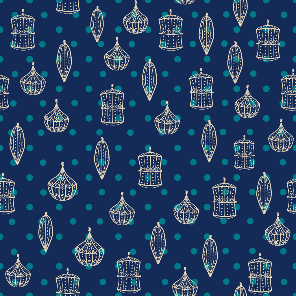 Ornaments and Blue Dots Photo Backdrop