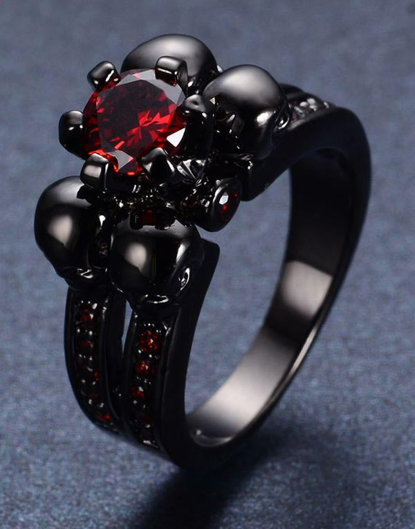 Bague Black Goth Red Jewelry pour Femme.