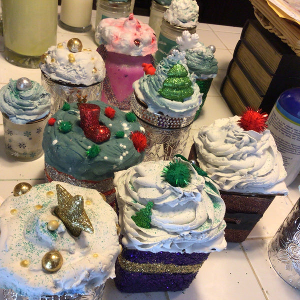 Christmas Glitter Candles with Whipped Cream Topper