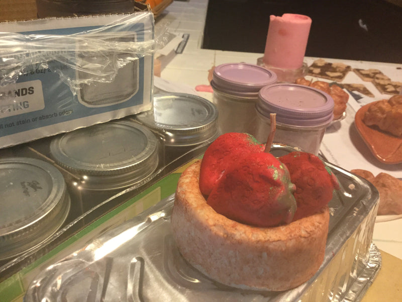 Strawberry Shortcake with Strawberries Bakery Creation Food Candle
