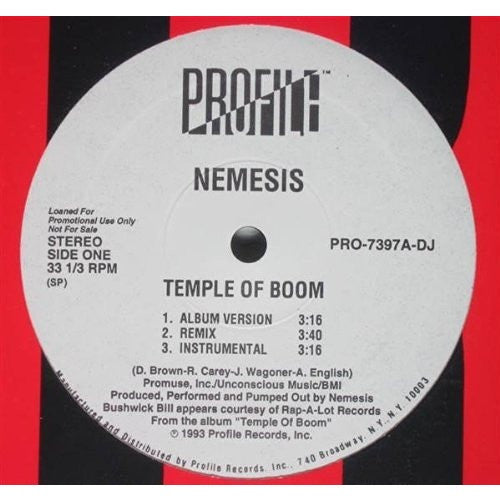 NEMESIS--Temple Of Boom / Str8 Jackin'--NEW!! - Portofino Records