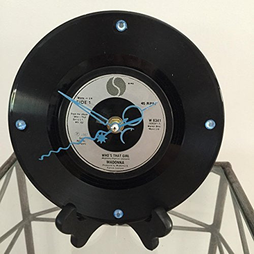 MADONNA--WHO'S THAT GIRL VINYL RECORD DESKTOP CLOCK WITH STAND - Portofino Records