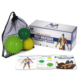 3 Piece Massage Ball Set, One Lacrosse Ball and Two Spike Trigger Point Balls